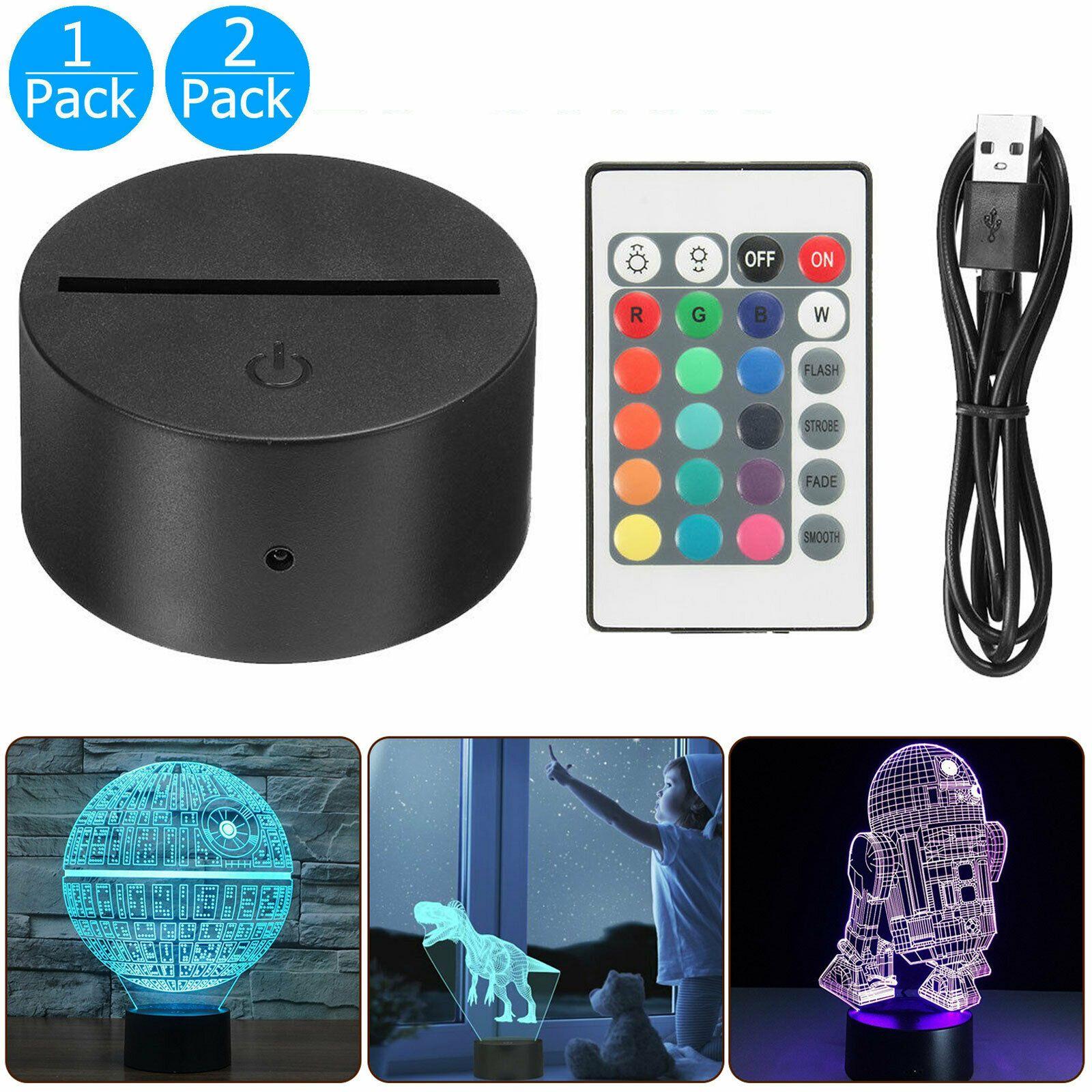 1 2 Pack Acrylic Black 3d Led Lamp Night Light Base Usb Cable Remote Control Ebay Lamp Bases Black Lamp Base 3d Night Light