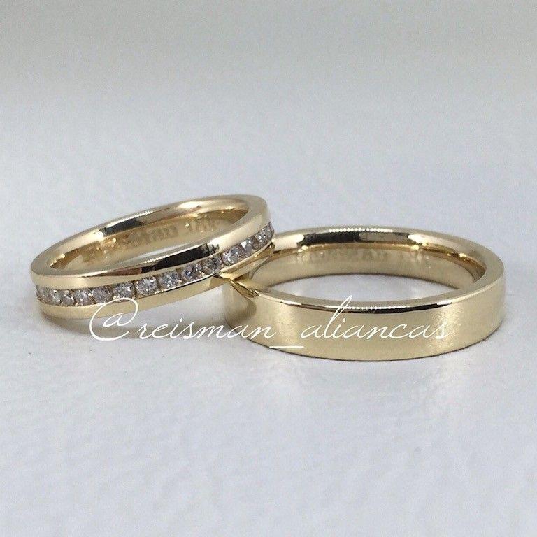 Par de Alianças Encanto ♥ Casamento e Noivado em Ouro 18K - Reisman -  Reisman… edbd18fa96