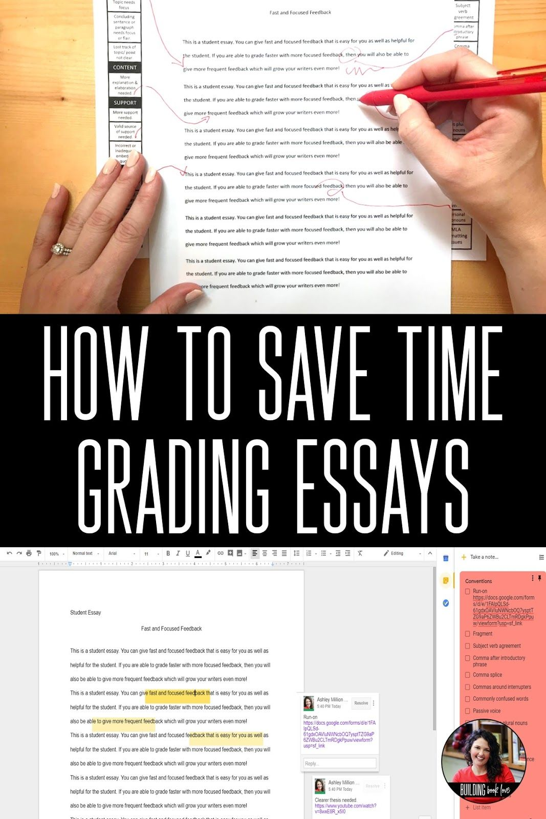 Essay Grading Tips For Grading Essays Faster And More Efficiently  How To Save Time Grading Essays Advanced English Ap English Teaching  Time Teaching