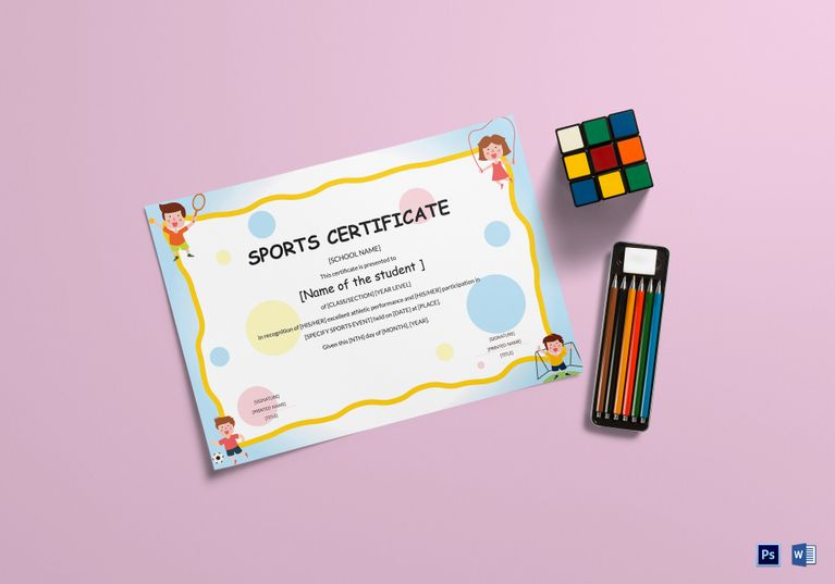 Kids sports participation certificate template 999 formats kids sports participation certificate template 999 formats included ms word photoshop file size yelopaper Image collections