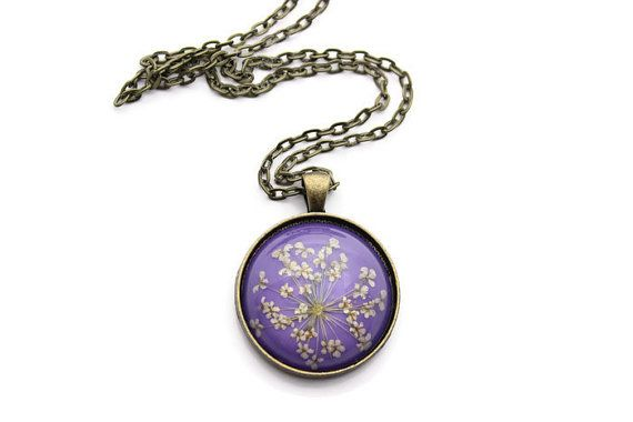 30mm Dried Flower Necklace - Purple Necklace - Dried Flower Jewelry - Pendant Necklace for Women - Antique Bronze Chain Necklace