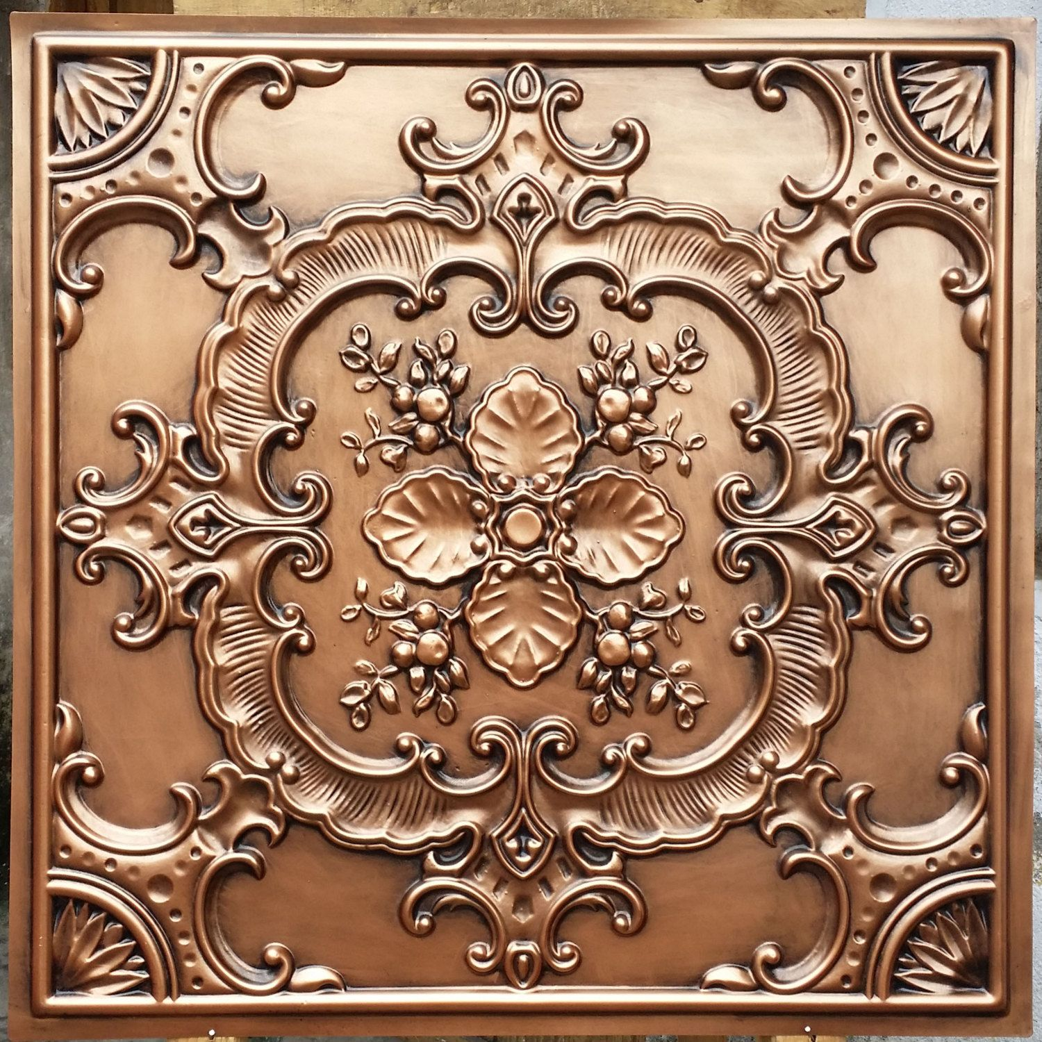pl19 faux tin antique copper ceiling tiles 3d embossed photography background panels boards 10tileslot