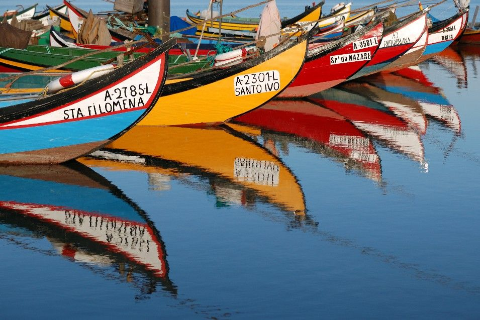 Colorful Boats in Aveiro, Portugal