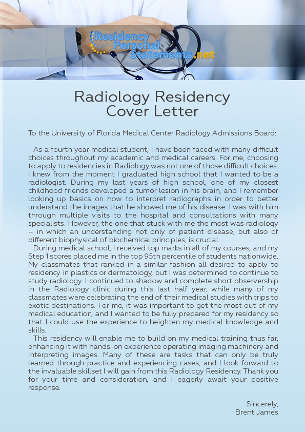 residency application cover letter sample
