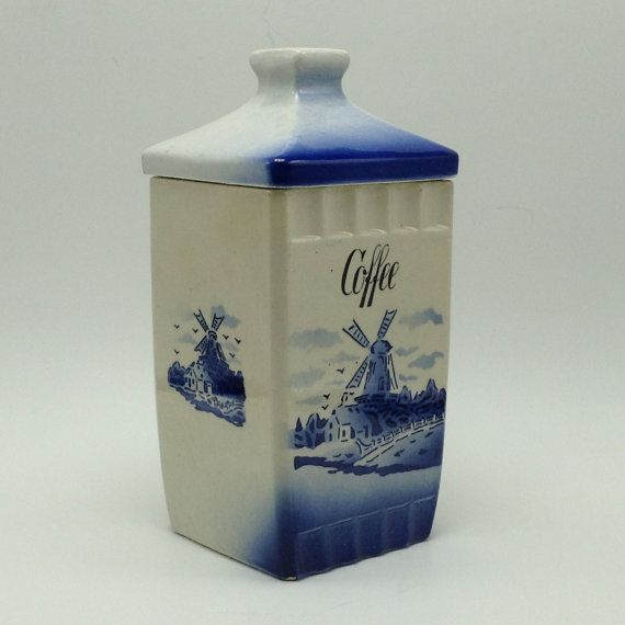 Blue Windmill Coffee Canister w/ Lid Camilla made in Germany