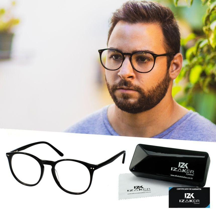 Armacao Oculos Grau Masculino Redondo Retro Preto Izaker 2104
