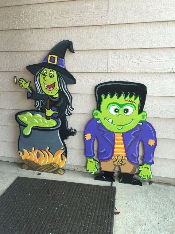 Halloween wood Decoration Halloween Yard Decor Witch Decor Fun - pinterest halloween yard decor
