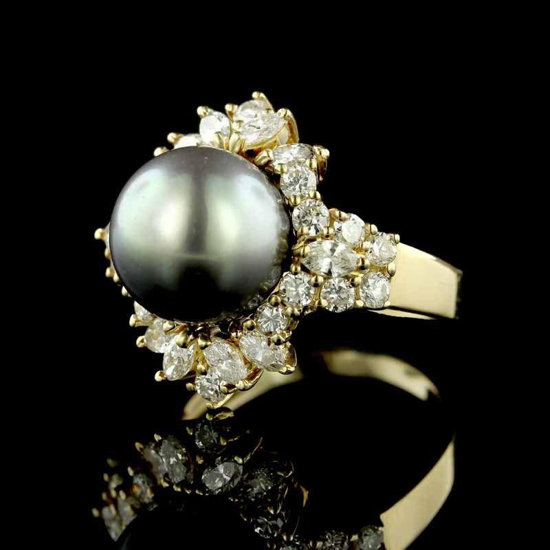 14K Yellow Gold Tahitian Pearl and Diamond Ring