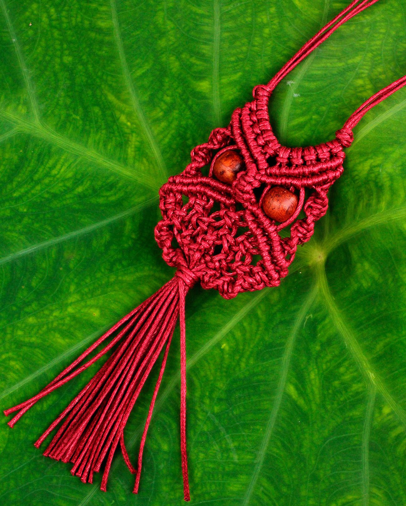 Red Cotton Macrame Owl #Necklace