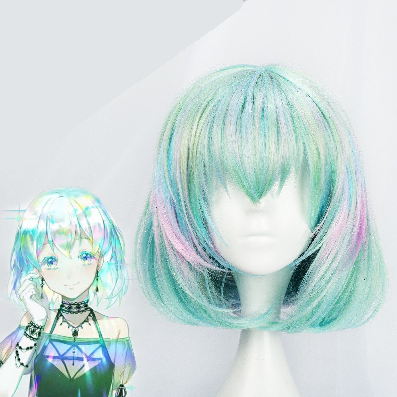 Country of gems colorful gradient wig gift hair net yc20246