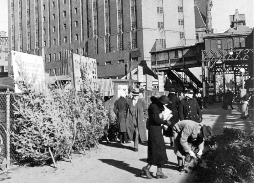 Last minute Christmas Tree sales December 24, 1935 6th Ave, Greenwich Avenue By PL Sperr | New ...