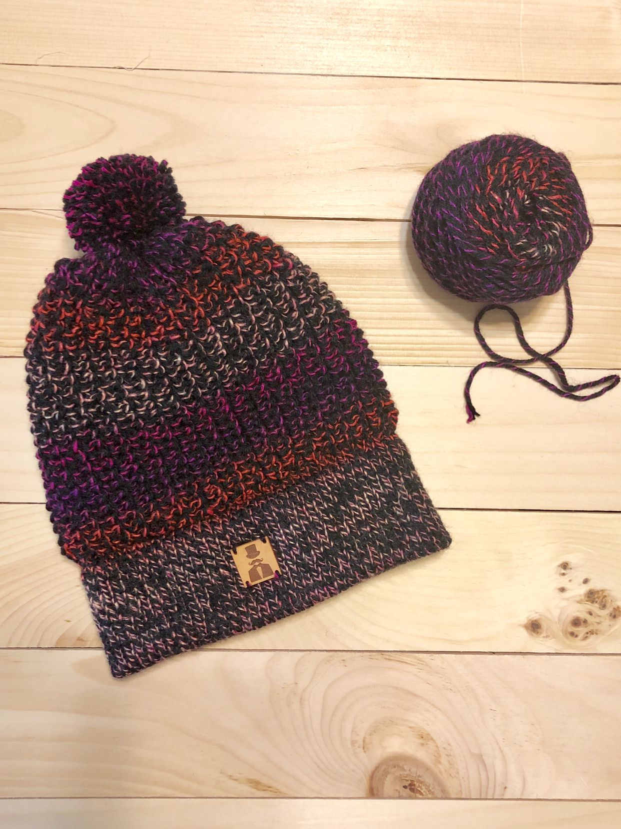 """Knitted slouch hat using yarn color called """"Firecracker"""" which seemed  appropriate for the first hat of the year! cebbd763cff"""