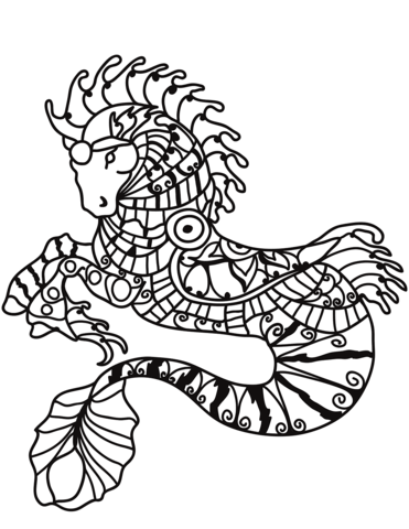 Hippocampus Zentangle Coloring Page Coloring Pages Horse Coloring Pages Colouring Pages