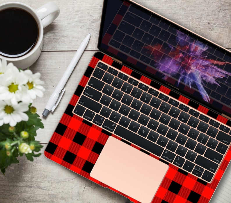 Red Black Cell Skins Macbook 12 Air 13 Pro Retina 15 Inch Etsy Macbook Pattern Decal Black And Red