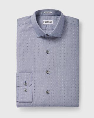 slim fit dot check dress shirt