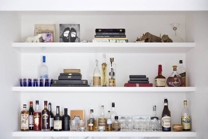 Home Bar Ideas That Don\'t Involve a Cart | Open shelves, Shelves and Bar