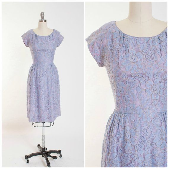 1950s Vintage Dress Pastel Blue Lace with Gold by stutterinmama