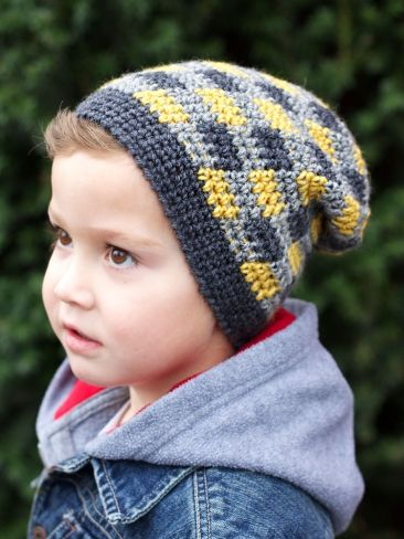Plaid Slouchy Beanie | Yarn | Free Knitting Patterns | Crochet ...