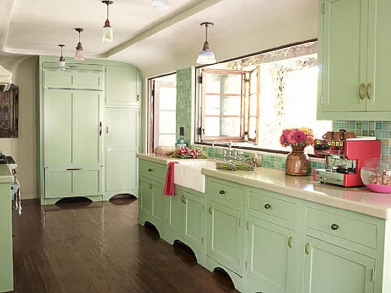 Mint Green Paint Color Kitchen Design Green Kitchen Cabinets