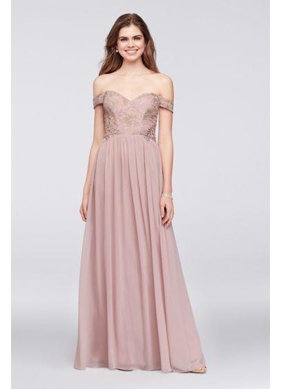 e8cc812797d13 Off-the-Shoulder Lace and Chiffon Corset Gown 8120GR5D