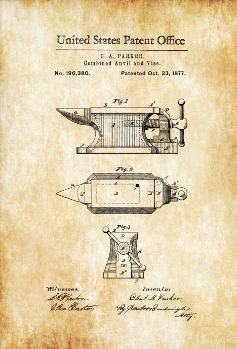 Anvil Patent 1877 – Patent Print, Blacksmith Anvil, Vise Patent ...