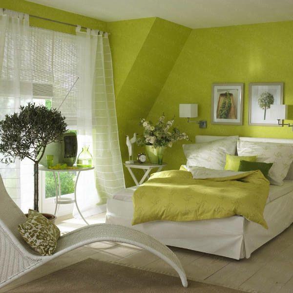 grüne-wandgestaltung-für-schlafzimmer-gemütlich Schlafzimmer - gemtliche schlafzimmer farben