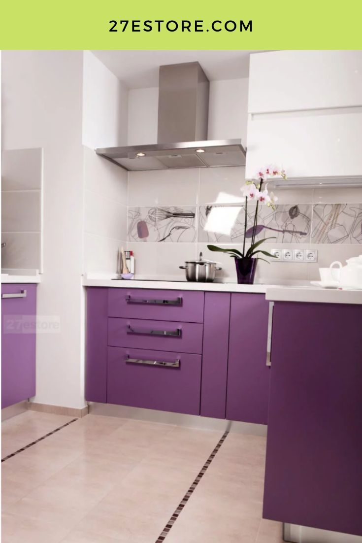 High Gloss Polyester Violet Purple cabinet doors by 27estore. #27estore #homedecor  #kitchen #cabinets #homeremodel #homeinspo #homeideas #remodel