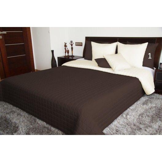Obojstranná prikrývka na manželskú posteľ hnedej farby
