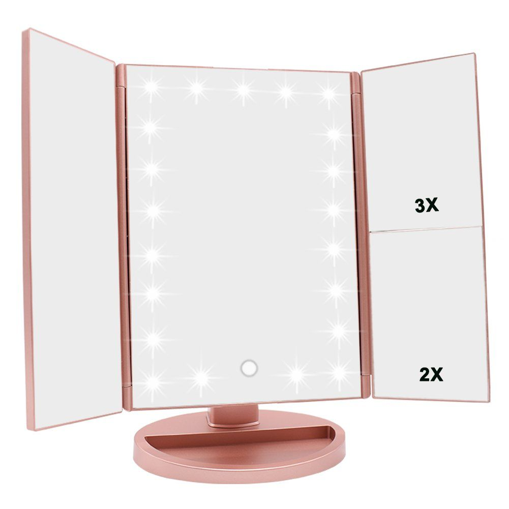 Tri Fold Vanity Mirror With Lights Prepossessing Weily Lighted Makeup Mirror Trifold Vanity Mirror With 1X2X3X Design Decoration