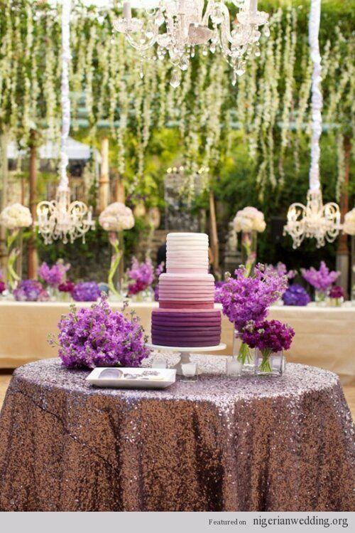 Nigerian Wedding 16 Stunning Cake Table Decoration Ideas Wedding Decor Elegant Wedding Decorations Elegant Purple Wedding Cake Ombre