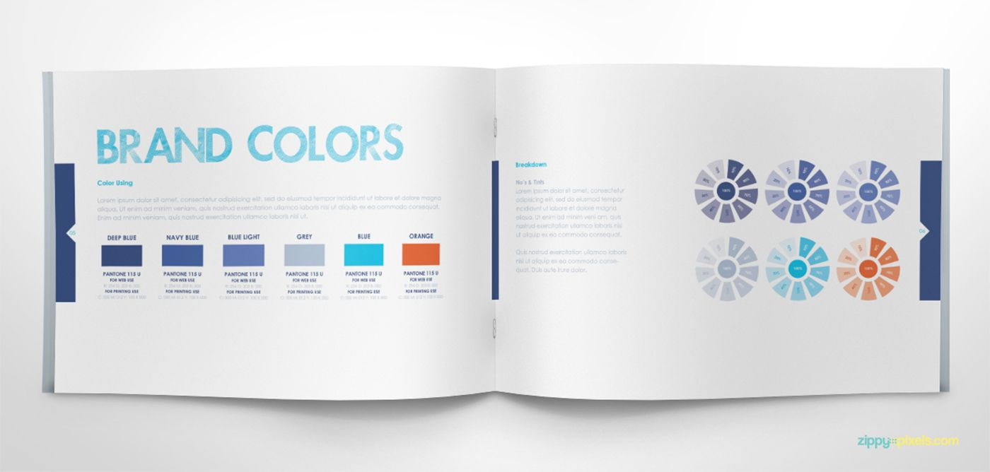 Book color illustrator - Free Brand Book Template Cool Blue On Behance