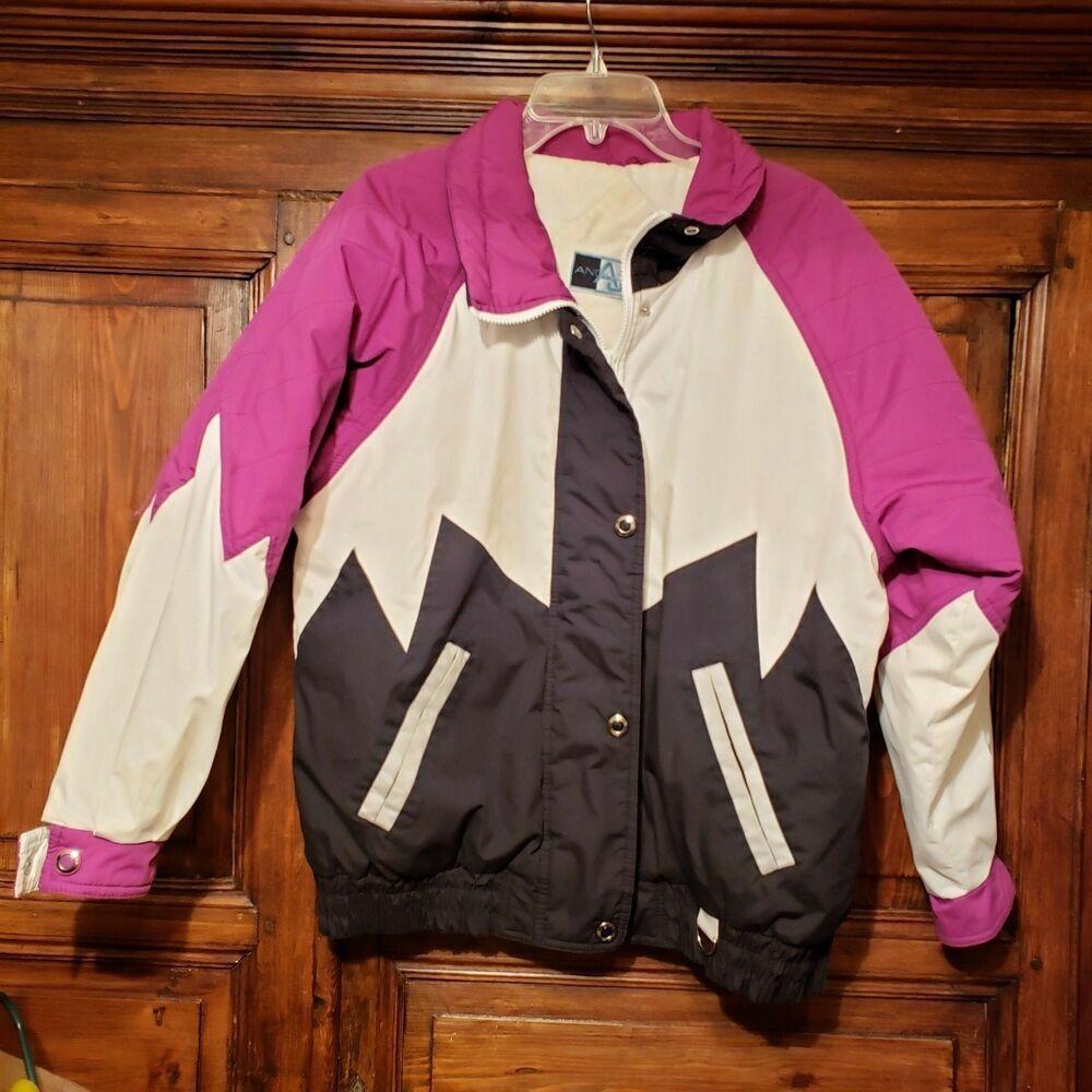 Vintage Pink Black 80s 90s Puffy Winter Ski Snow Snow Jacket Coat Black Bear
