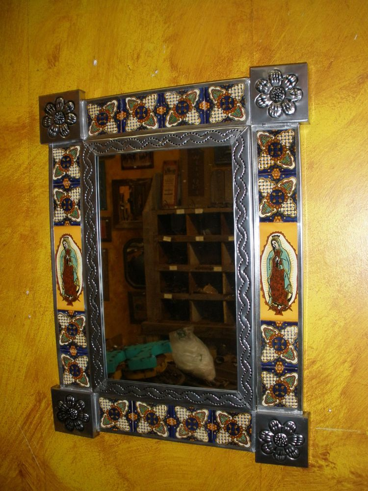 Virgen de Guadalupe Talavera Tin Mirror Mexican Folk Art-13x17 in ...