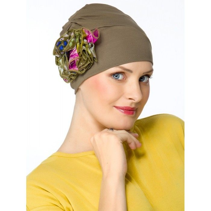 Super Elegant Kaki Hats for Chemo Patients Silk Flower in 2019 ... 4b8e86aabdf5