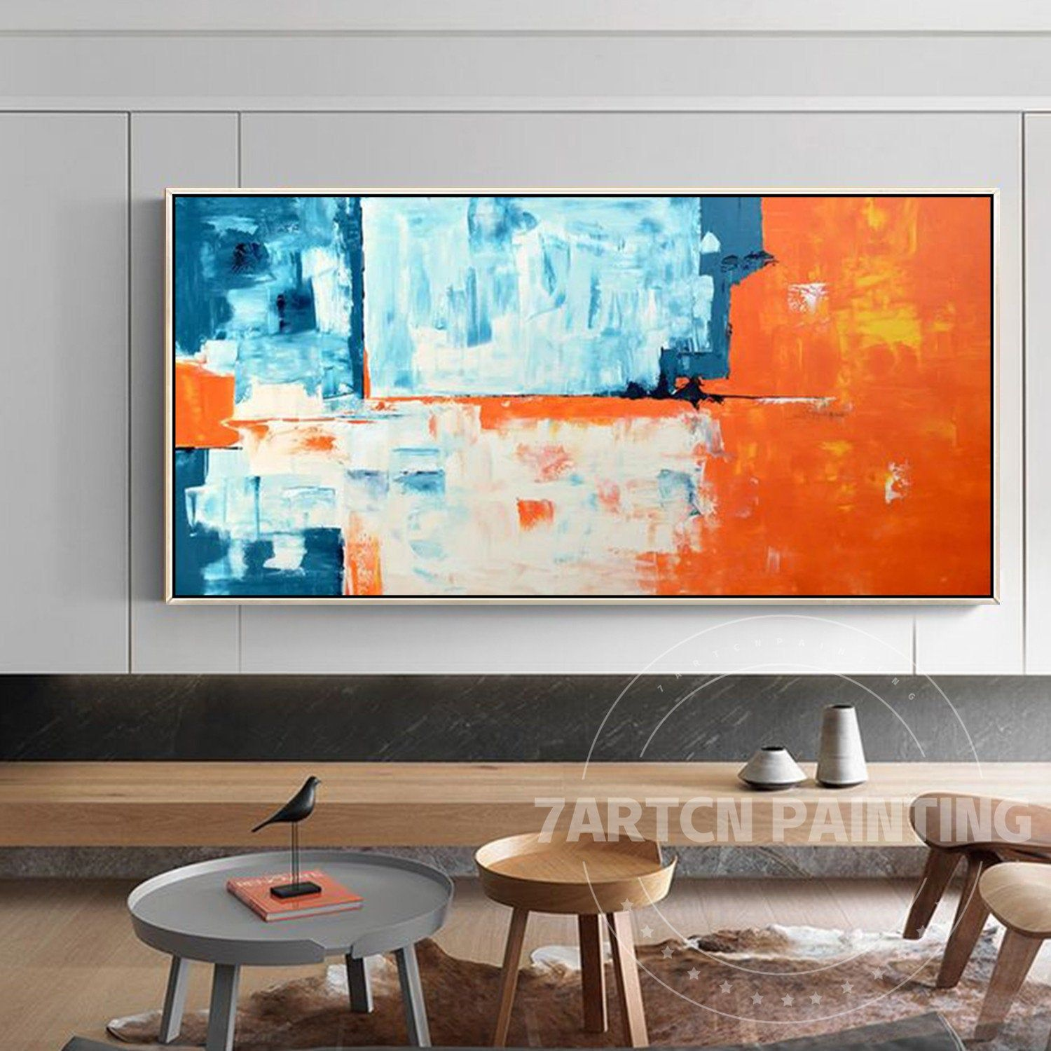 Abstract Acrylic Painting Orange Blue White Background Framed Canvas Cuadros Abstractos On Canvas Abstract Painting Acrylic Wall Art Pictures Abstract Acrylic