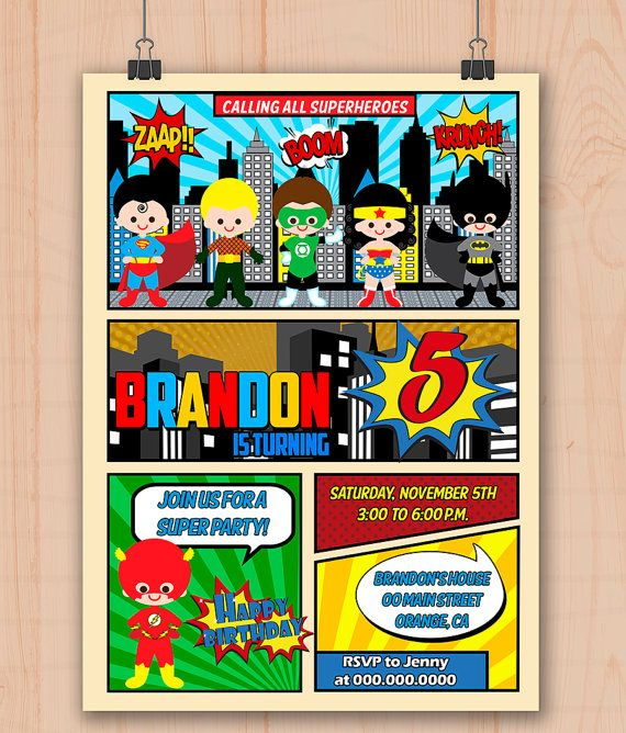 Justice League Invitations Free: League Of Superheroes PERSONALIZED Birthday Party