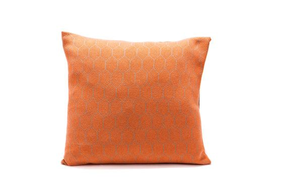 Grey And Orange Knitted Geometric Pillow Cover 55x45 Cm