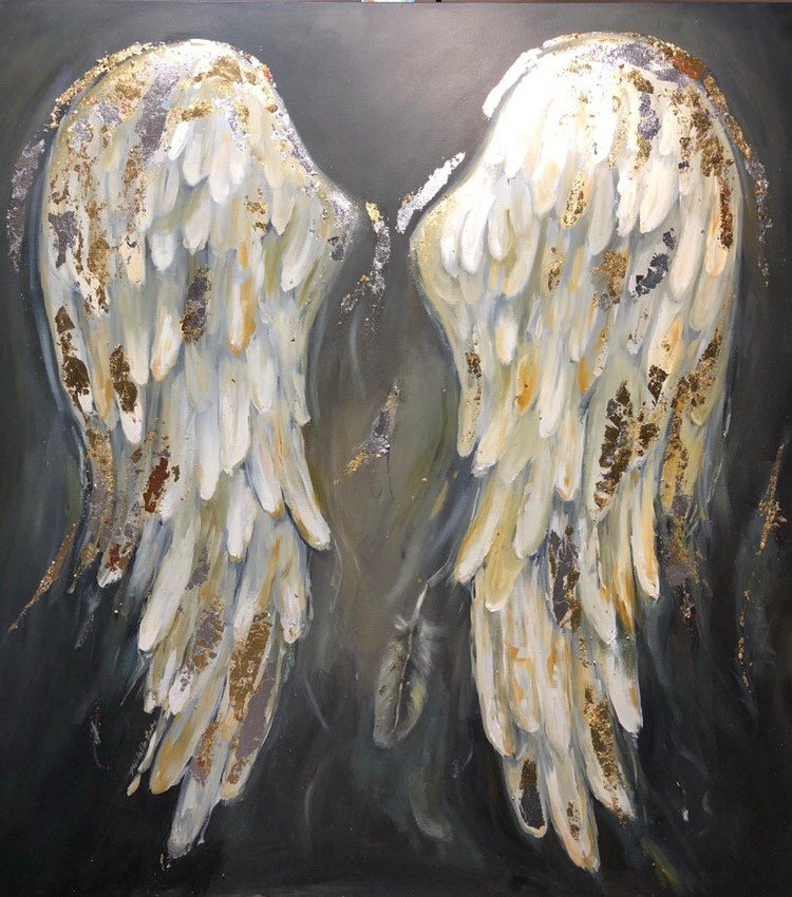Angel Painting Original Art Fantasy Painting Religious Art Guardian Angel Wing Artwork by PaintingOfYourDreams