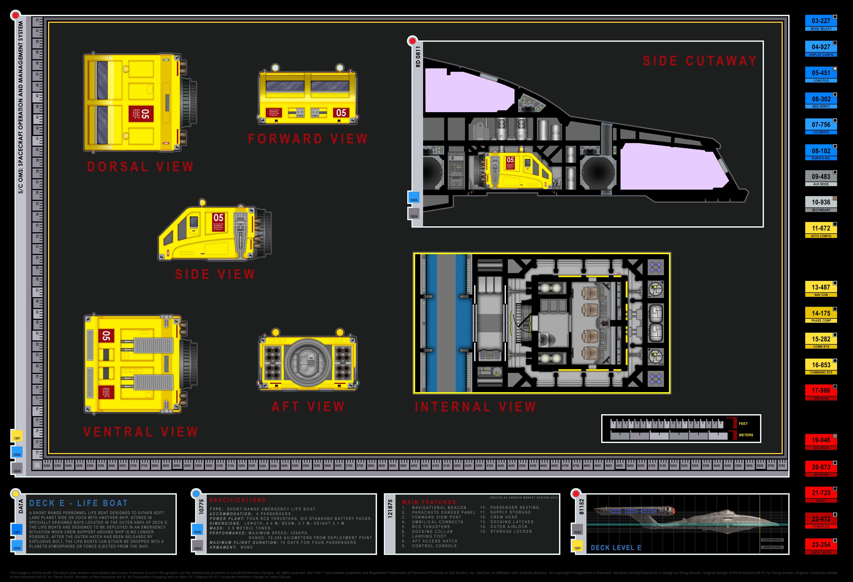 Colored Schematic Of Escape Pod; Columbia Class Starship; U.S.S. Enterprise  NX 01