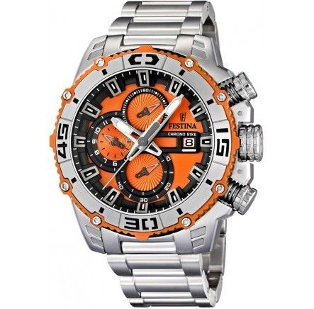 Click Image Above To Purchase: Festina Mens Tour De France Stainless Watch - Silver Bracelet - Orange Dial - F16599-6