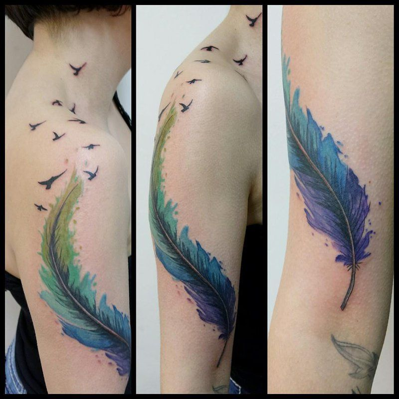 8ac2a1bb2942e Watercolor Feather With Flying Birds Tattoo On Girl Right Half Sleeve By Mel  Van Hel