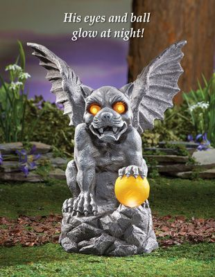 Mythical Gargoyle Garden Statue with Solar Light Halloween stuff - halloween statues