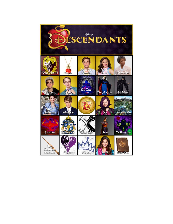Descendants bingo cards! Great for birthday party games