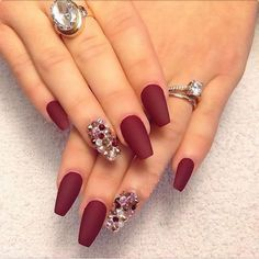 Pin by lorena feliz on uas pinterest gorgeous nails and makeup matte red w full nail bling for xmas prinsesfo Choice Image