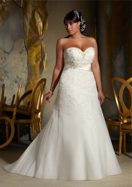 8454f4adfcb A Line Sweetheart Corset Organza Lace Beaded Plus Size Wedding Dress With  Belt
