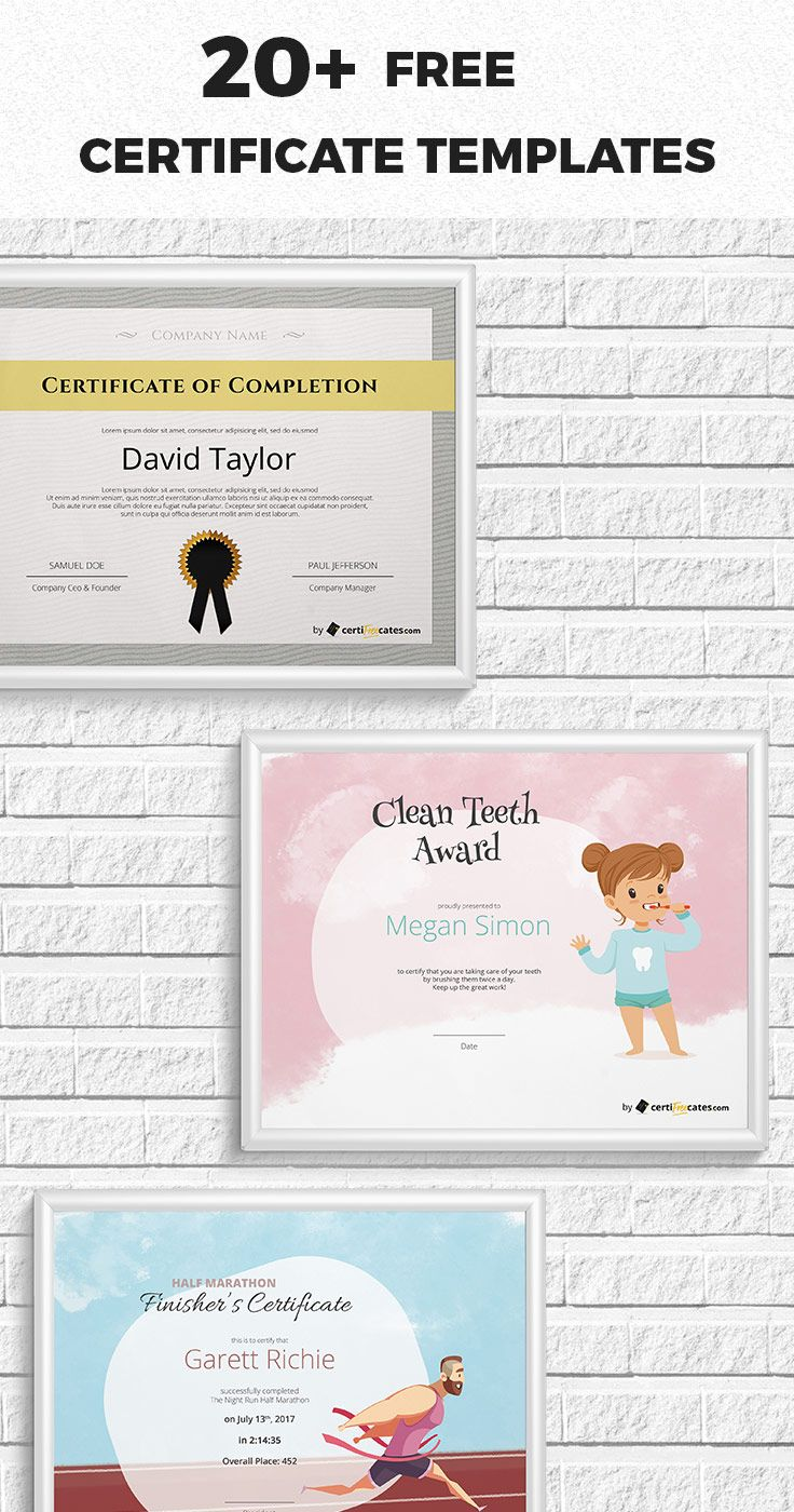 20+ Free Certificate Templates for Word | Pinterest | Free ...