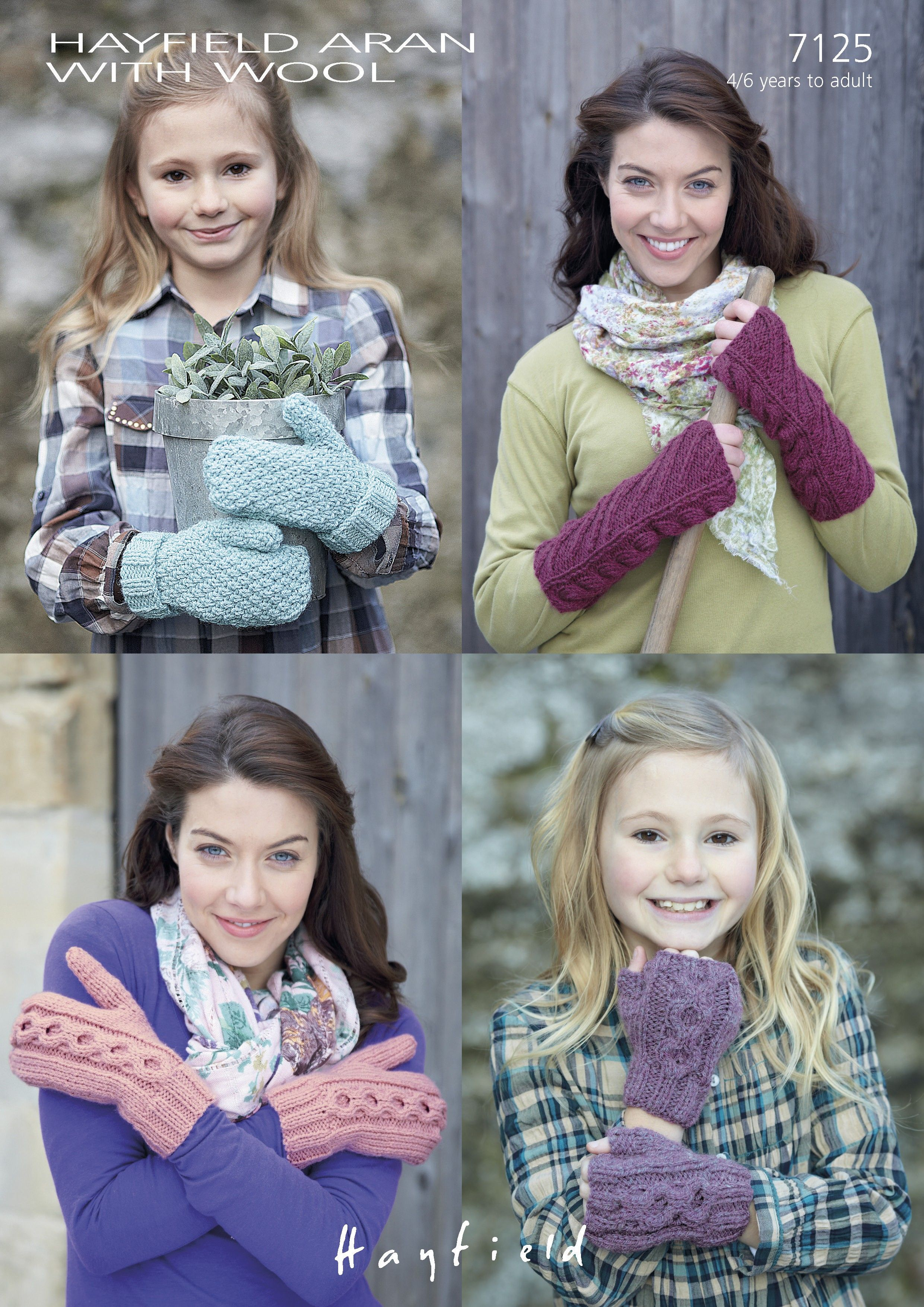 Moss-Stitch and Cabled Mittens, Cabled and Diagonal Pattern Wrist-warmers in Hayfield Aran With Wool (7125) | Aran Knitting Patterns | Knitting Patterns | Deramores