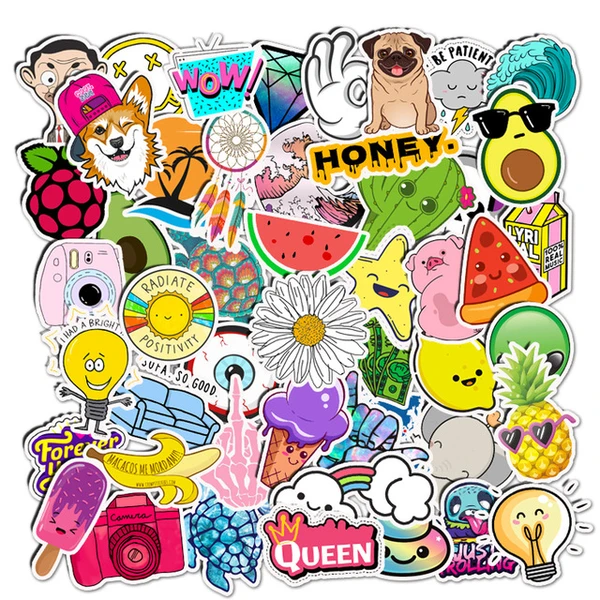Waterproof Stickers 50 Pcs Vinyl Stickers for Guitar Suitcase Water Bottle and Skateboard Computer Refrigerator Laptop and Water Bottle Decal Sticker VSCO Stickers