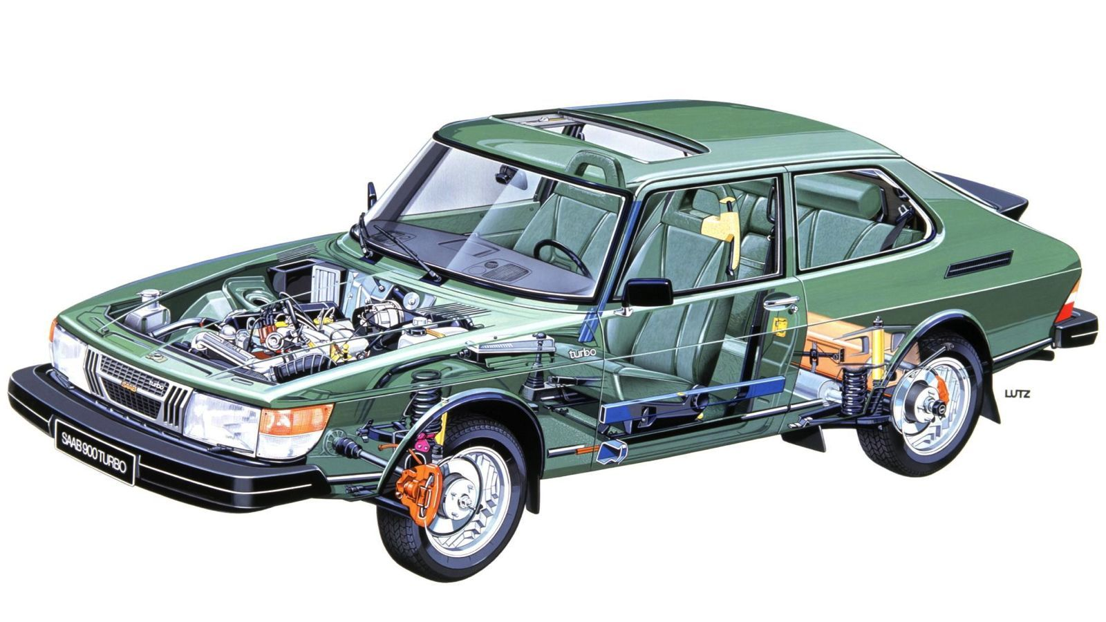Your Ridiculously Cool Saab 900 Turbo Cutaway Wallpaper Is Here ...