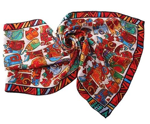 LUXURIOUS 100% CHARMEUSE SILK ART CAT SCARF WITH HAND ROLLED EDGE